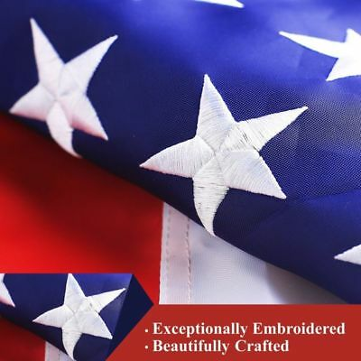 USA 3x5 Ft American Flag Embroidered Nylon Deluxe Stars Sewn US Stripes MADE IN