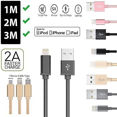 Genuine Heavy Duty Braided Charger Cable Micro Type C Lightning iPhones Android