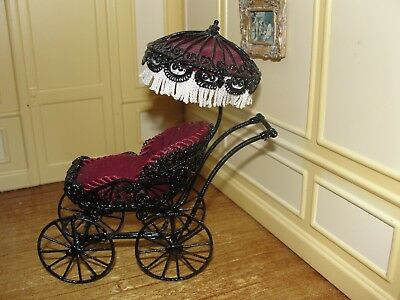 SALE:  Dollhouse Miniature Black Wire Metal w Maroon Velvet Baby Carriage