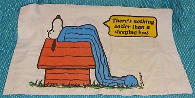 Vtg 1971 Snoopy Linus Pillowcase Happiness Is A Thumb Nothing Cozier Peanuts