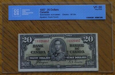 1937 $20 Coyne /Towers  Canada Bank Note Certified VF-30