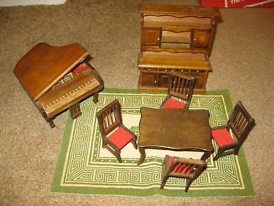 Lot of 8 Dinning Room SET Piano DOLLHOUSE FURNITURE