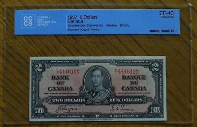 1937 $2 Gordon /Towers  Canada Bank Note Certified AU-50