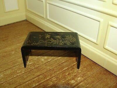 Dollhouse Miniature Black Lacquer Oriental  Table