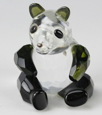 Mystery Maker Faceted Green Clear Crystal Baby Panda Cub Bear Art Glass Figurine