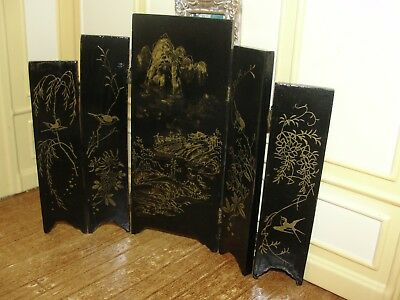 Dollhouse Miniature Black Lacquer Oriental 5 Panel Screen