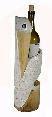 Hand Carved Pelican Ocean Bird Wood Paper Bottle Holder Island Sculpture Cottage
