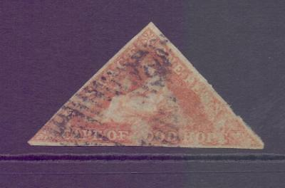 Cape of Good Hope COGH 1d Red IMPERF Triangle Slight thin