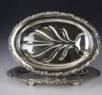 Estate Lot 2 Silver Plate Footed Scroll Border Meat Tray Platter w Tree Well RRR
