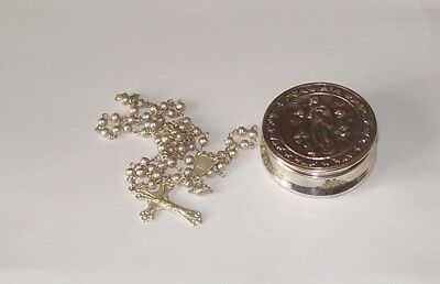 Antique Solid Silver Box Cherub Decoration & Rosary Beads Hallmarked 800 Silver