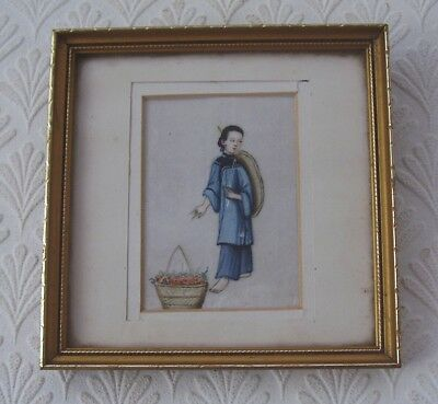 Antique Chinese Painting On Pith Paper Miniature Of A Woman With Basket Flowers