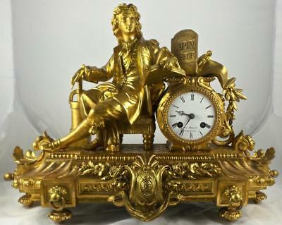 Antique French Japy Freres 19th c Gilt Figural Industrialist 8 day Mantle Clock
