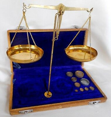 Vintage Boxed Set Of Brass Pharmacy Balance Scales With Original Weights