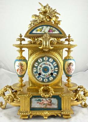 Antique French 19th c Japy Freres gilt & Sevres Porcelain 8 day mantle clock