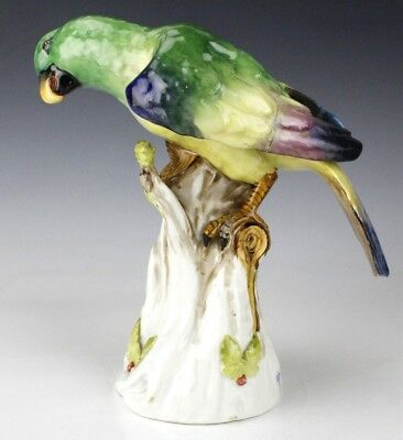Antique German Dresden Porcelain Exotic Parrot on Tree Statue Figurine NR EDP
