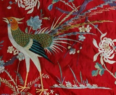 Old Chinese Hand Embroidered Red Silk Crane Bird & Floral Textile Panel NR SLG