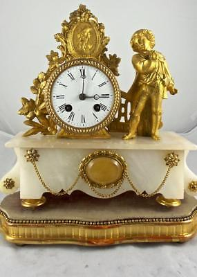 Antique French 19thc Figural Gilt & White mMarble Alabaster Mantle Clock On Base