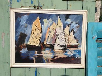 Stunning Original 50's Acrylic Painting Signed 'Sailing St.Ives' Modernist Chic