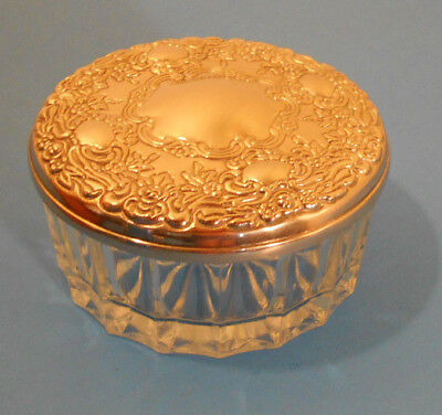 Vtg SILVER Repousse Flower Lid w/ Mirror-Cut Glass Small Dresser Jar Vanity