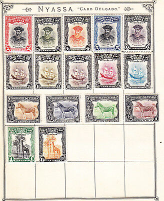 Nyassa Company postage stamps -Old Album Page 16 x Mint Hinged