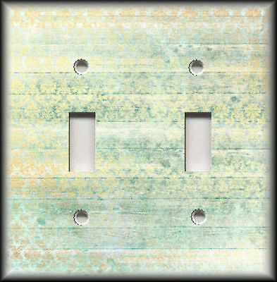 Metal Switch Plate Covers Rustic Wood Shabby Chic Decor Damask Yellow Green