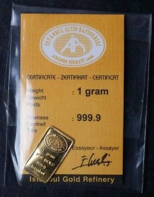 Istanbul Gold Refinery 1 GRAM .9999 GOLD BARS SEALED - RARE!!