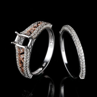 10K White/Rose Gold 6x4MM Cushion Wedding Semi Mount Diamond Ring Sets