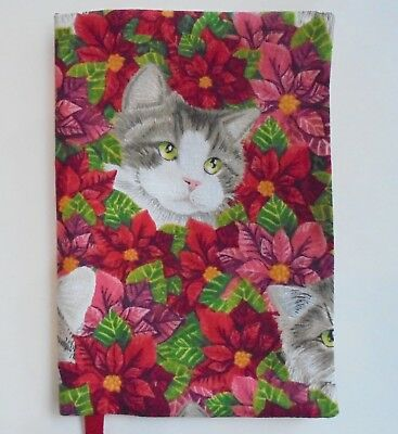Fabric Paperback Book Cover CAT Fabric Standard Paperback POINSETTIA FLOWERS