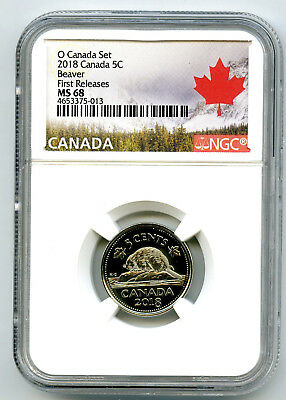 2018 O Canada 5 Cent Nickel Ngc Ms68 First Releases Highest Grade Top Pop=8