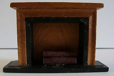 Vintage Wooden Dollhouse Furniture Black Painted Fireplace With Logs