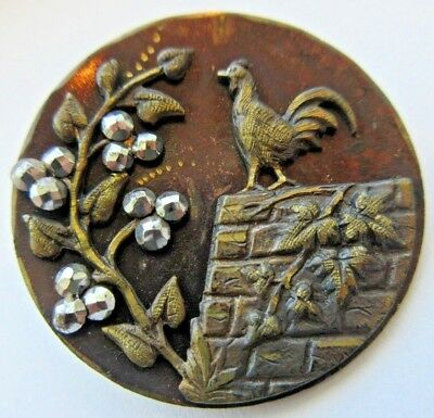 Amazing LARGE Antique~ Vtg Metal Picture BUTTON Rooster Bird w/ Cut Steels (A11)