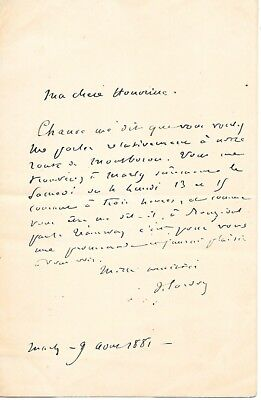 1881 ALS French author of Tosca, playwright Victorien Sardou