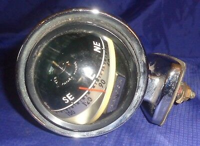 RP2603 Vtg Brydon Lighted Solid Brass Chrome Plated Boat Compass