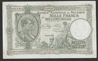 1000 Francs From Belgium 1943