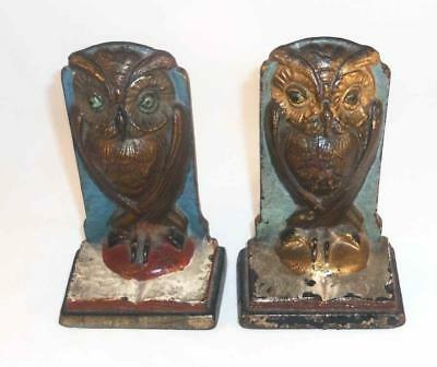 Antique Painted Cast Iron Bookends Standing Owl On An Open Book