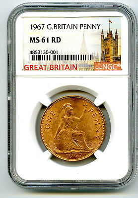 1967 Great Britain Britannia Penny Ngc Ms61 Rd Last Year Of Large Copper Design