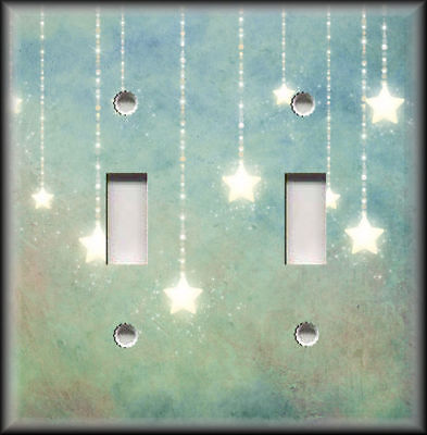 Metal Switch Plate Covers Mystical Decor Blue And Green With Sparkling Stars