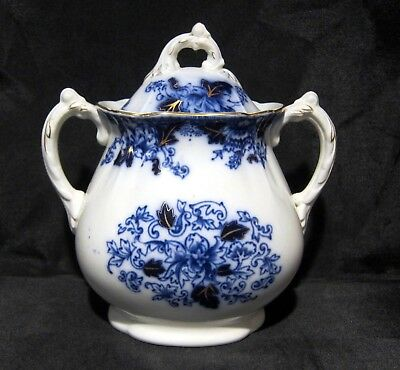 JOHN MADDOCK & SONS Antique Flow Blue Roseville Tall Sugar Bowl with Lid 1800's