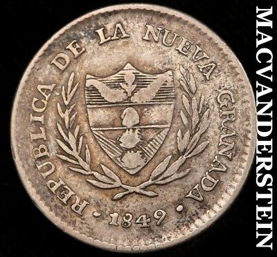 Colombia: 1849 Two Reales - Scarce!!  Better Date!!  #a706