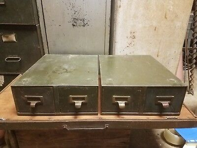 Pair of Vintage Shaw Walker File Drawers Filing Cabinets