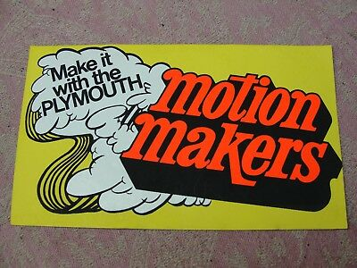 "Vintage 1970's Make It With The Plymouth Motion Makers 6 1/2"" x 4"" Sticker"