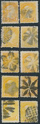 Lot of 10 1c Small Queens With Fancy Cancels, Mostly Fine+