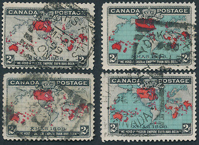 Canada #85-86 Lot of 4 Map Stamps With Squared Circle Postmarks
