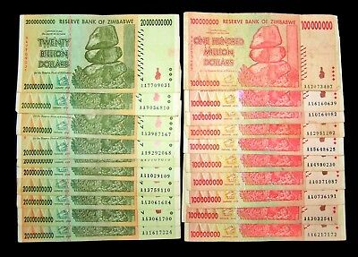 20 Banknotes-10 x 20 Billion & 10 x 100 Million Dollar banknotes / currency-2008