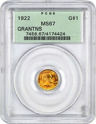 1922 Grant without Star G$1 PCGS MS67 (OGH) - Classic Commemorative - Gold Coin