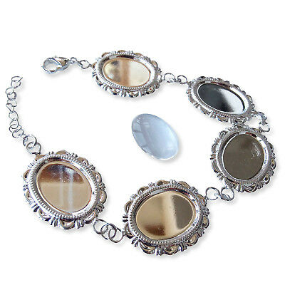13x18mm Silver OVAL BRACELET Chain Blank Cabochon Glass Jewellery Setting Making
