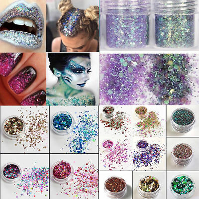 Mixed 10g Holographic Flake Chunky Festival Glitter Nail Face Tattoo Body Dance