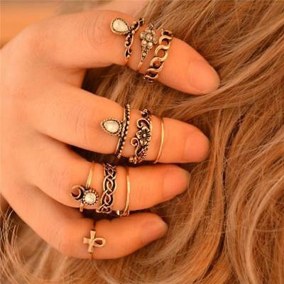 10pcs Set Silver Gold Ring Above Knuckle stacking Band Midi Mid Ring Jewelry CB
