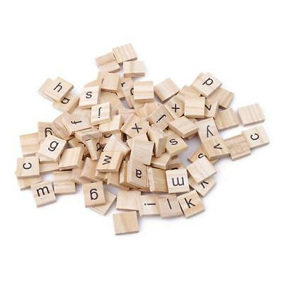 100 Wooden Scrabble Tiles Set Letters Numbers For Crafts Alphabet Game Wood CB