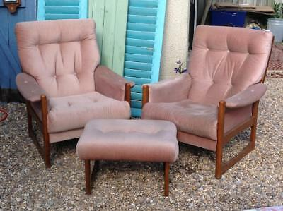 Vintage Cintique Armchairs & Footrest Beech Frame 60's 70's Retro Lounger Chairs
